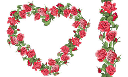 Round template and seamless border with roses and leaves isolated on white background. Vetores