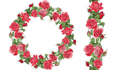 Round template and seamless border with roses and leaves isolated on white background. Vecteurs