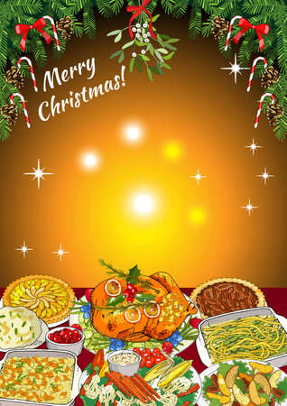 Christmas dinner invitation or greeting card design of winter holiday cuisine, roasted turkey, sweet pie, mashed potatoes, casserole, vegetables. Vector fir branches, bows, candy cane and holly wreath. For announcements, posters, advertisement.