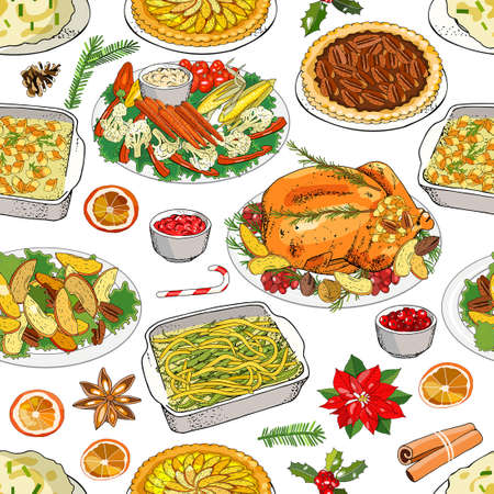 Traditional Christmas and New Year seamless pattern with holiday food. Xmas repeating texture, endless background. Vector illustration. Hand draw texture for your festive fabric, wallpaper, textile, cloth, decoration, greeting cards, posters, invitations, advertisement.