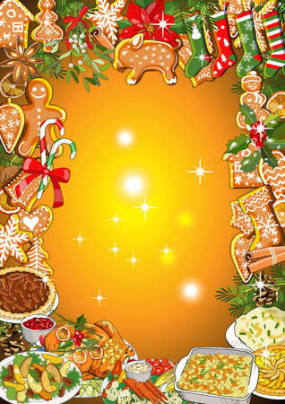 Christmas dinner invitation or greeting card design of winter holiday cuisine, roasted turkey, sweet pie, mashed potatoes, casserole, vegetables, gingerbread. Vector fir branches, bows, candy cane and holly wreath. For announcements, posters, advertisement. Vetores