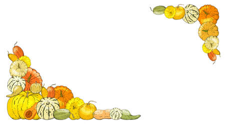 Autumnal card for thanksgiving or seasonal design with pumpkins.