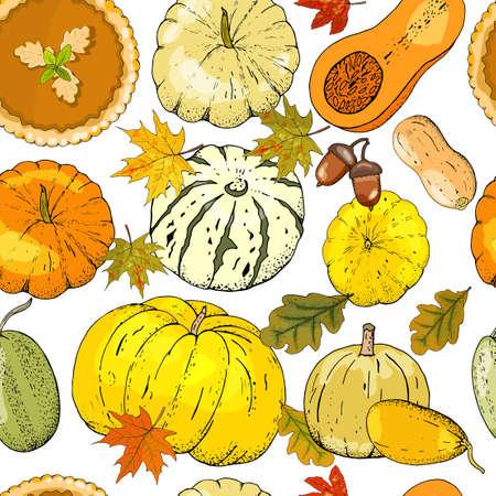 Vector autumn seamless pattern with pumpkins, pumpkin pie, maple and oak leaves, acorns.