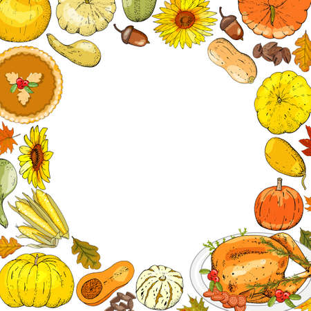 Autumnal card for thanksgiving or seasonal design with pumpkins isolate on white. Çizim