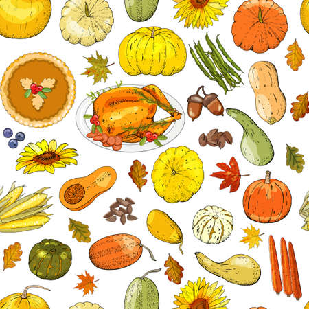 Thanksgiving Day seamless pattern with turkey, colorful pumpkins, vegetables, fruits, berryes and autumn leaves. Vector illustration.