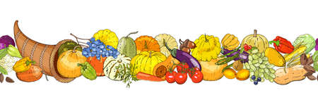 Horizontal seamless background with Thanksgiving Day cornucopia, colorful pumpkins, vegetables, fruits, berryes and autumn leaves. Vector illustration. Çizim