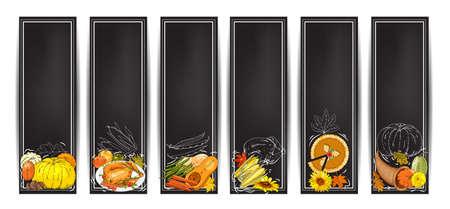 Vector chalk Thanksgiving horizontal banners set with turkey, pumpkin pie, cornucopia, colorful pumpkins, other vegetables, fruits, berries Çizim
