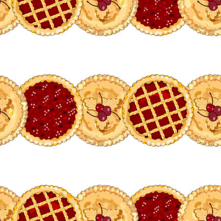 Endless texture with cherry pies. The theme of autumn, Pie Day, harvest and thanksgiving. For restaurant and cafe designs.