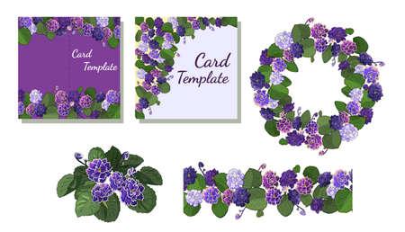 Vector set of flowering African violets