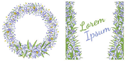 Set of vector had drawn floral templates. For romantic and easter design, announcements, greeting cards, posters, advertisement  イラスト・ベクター素材