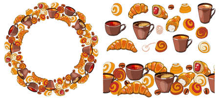 Set of hand drawn elements. Coffee and tea cups, coffee beans, croissants and buns, contours of berries drawing on a white background.