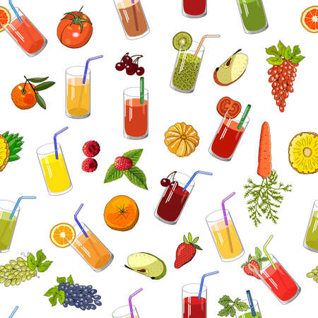 eamless pattern with natural juice and fruit. Vector endless hand drawn illustration isolated on white background. For your design, announcements, cards, posters, restaurant menu.
