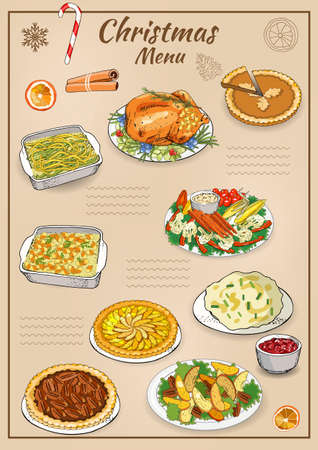 Vector hand drawn illustration of traditional Christmas dishes isolated on white background. Holiday food. Classic New Year eating. Main course and garnish.