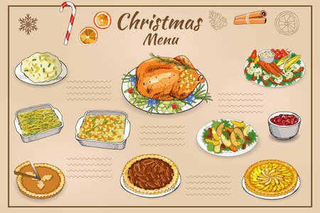 Vector hand drawn illustration of traditional Christmas dishes isolated on white background. Holiday food. Classic New Year eating.
