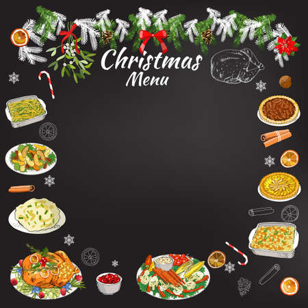 Hand drawing chalk restaurant festive menu template on chalkboard. Vector holiday background. Traditional Christmas symbols and dishes.
