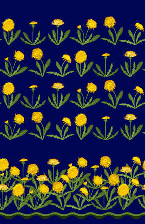 Seamless pattern with dandelion isolated on dark. Excellent print for greeting cards, clothes, bed linens, fabric, textiles, wallpaper, wrapping paper, gift box. Vektorgrafik