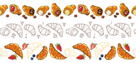 Hand drawn illustration of croissants, berry and chocolate. Vector seamless horizontal pattern background. Croissant badge bakery for design menu cafe, label and packaging.