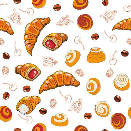 Hand drawn seamless pattern of croissants, berry and chocolate. Vector seamless horizontal pattern background.