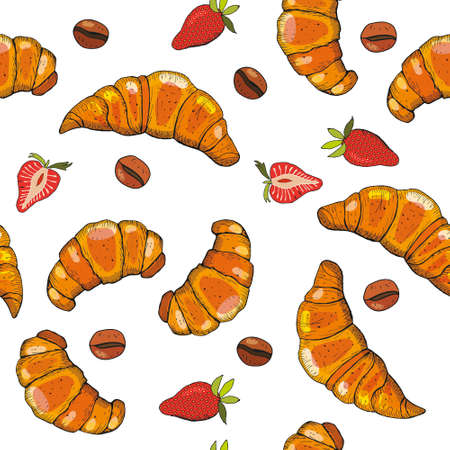 Hand drawn seamless pattern of croissants, berry and chocolate.