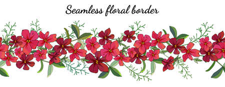 Seamless spring flower border isolated on white. Vector hand drawn pattern. Excellent print for greeting cards, clothes, bed linens, fabric, textile, wallpaper, wrapping paper, gift box.