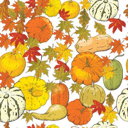 Autumn seamless pattern of autumn elements isolated on white background. Pumpkins, leaves, acorns, pumpkin pie.
