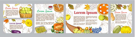 Autumn seamless pattern of elements with thanksgiving symbols, cornucopia, Turkey, fruits, pumpkins, flowers, corn, green beans, carrots, leaves. 矢量图像