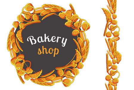 Vector bakery hand drawn illustration on white background