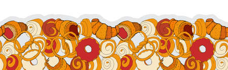 Bakery seamless vector pattern whith buns, bagels, croissants, coffee beans and donuts.