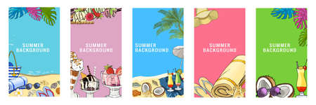Vector summertime illustration set of beach accessories isolated on white background 矢量图像