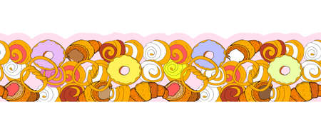 Hand drawn seamless pattern of donuts. Hand drawn elements