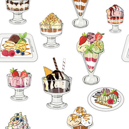 Vector illustration set of ice cream on white background. Hand drawn elements