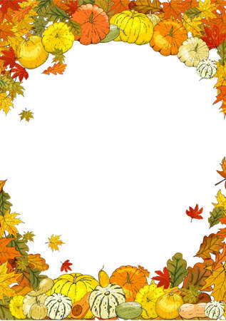 Autumn frame isolated on white background. Pumpkins, leaves, acorns.