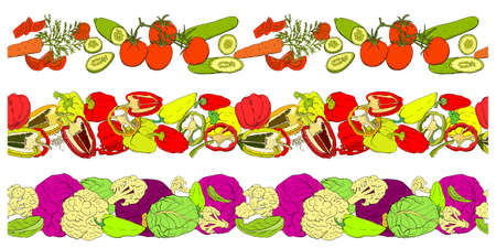 Vector seamless pattern with different fresh vegetables isolate on white. Hand drawn endless texture for your design, announcements, postcards, posters, restaurant menu, textile, fabric, wallpaper