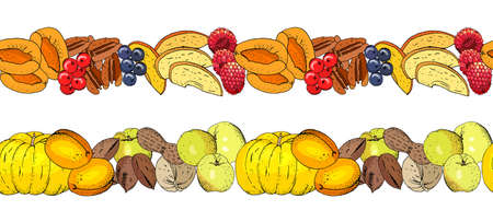Seamless fruit background with apricots, apples and nuts. 矢量图像