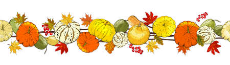 Autumn seamless pattern of autumn elements isolated on white background.