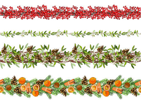Vector christmas seamless border with mistletoe, spruce cone, spruce branches, poinsettia, Holly, caramel cane isolated on white.