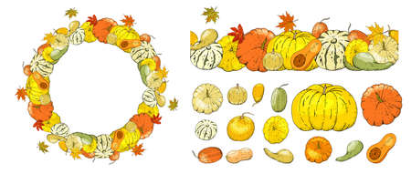 Autumn frame and seamless border isolated on white background. Pumpkins, leaves.
