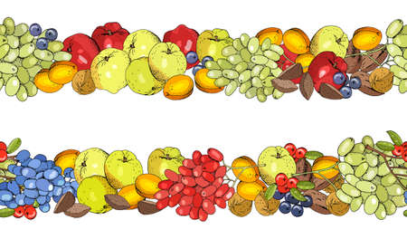 Seamless fruit pattern with apricots, apples, grapes and nuts.