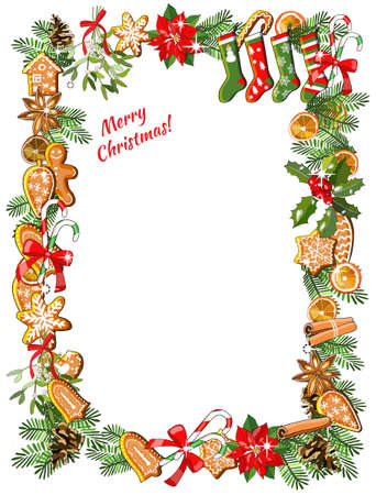 Christmas invitation or greeting card design. Vector fir branches, bows, candy cane and holly wreath. For announcements, posters, advertisement. 矢量图像