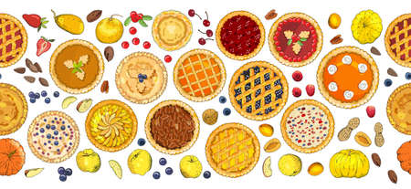 Seamless pattern of pies with different toppings. Vector illustration isolated on white background.