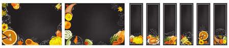 Horizontal banners with apples, apple slices, apple pies, apple juice jug, basket of harvest on the chalkboard. Hand drawn food illustration.