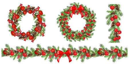 Vector christmas seamless border and frame isolated on white.