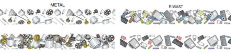 Vector hand drawn set of seamless patterns with sorted plastic garbage isolated on white. Collection of trash with separate debris. Concept of Recycles Day, World Cleanup day and ecology