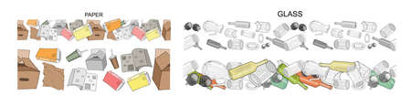 Seamless borders with sorted organic garbage. Collection of patterns with separate debris. Part 3. Vector pattern. Hand draw collection of trash. Concept of Recycles Day, World Cleanup Day and ecology Vectores
