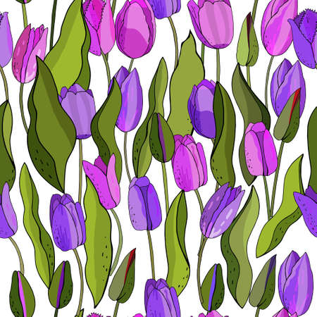 Beautiful Wild blooming tulip seamless pattern in a hand drawing style