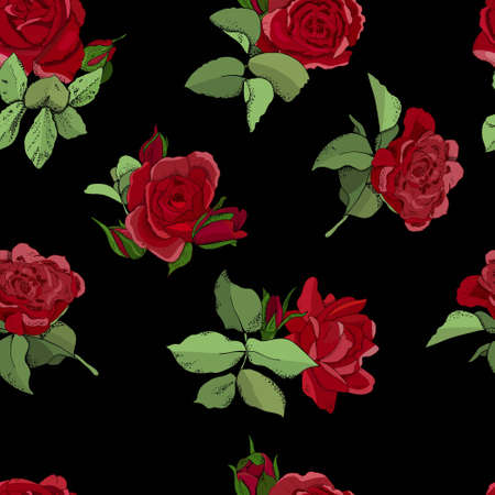 Flowers seamless pattern. Vector hand drawn illustration of roses. For textiles, wallpaper, fabric, gift boxes, greeting card and invitations