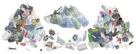 Pile of garbage, garbage bags adn rake. The concept of ecology and World Cleanup Day.