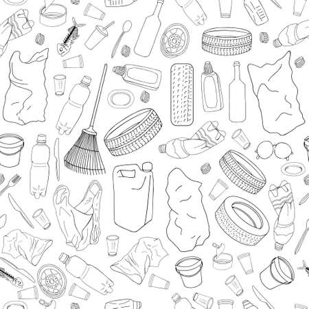 Seamless pattern with different kinds of garbage isolate on white. The concept of ecology and World Cleanup Day.