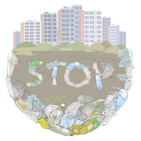 Environmental disaster of plastic debris in the ocean. Garbage in the sea and on the coast against the sky as a backdrop. Ecology concept.