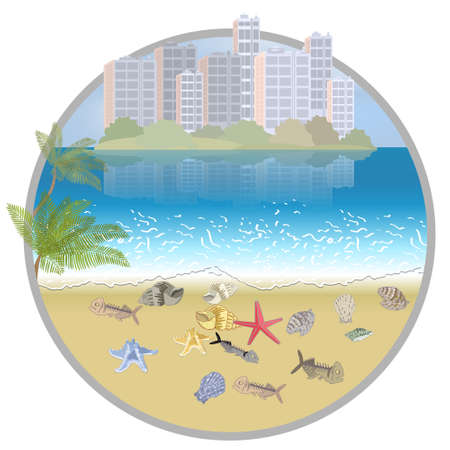 Environmental disaster of plastic debris in the city. Garbage on the coast in the ocean and in the sea. 矢量图像